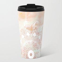 Delicate white mandala on pink Travel Mug
