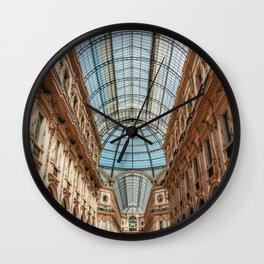 Galleria Vittorio Emanuele, Milan Dome, Gallery Milan, Shopping Mall Milan, Milano Italy, Famous Landmark Italy Print Wall Clock