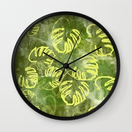 oil green palm leaves pattern Wall Clock