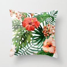 Hibiscus and Palm Leaf Pattern Throw Pillow