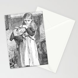 A Bit of Sunshine (1879) - A baby, and quite a large little woman Stationery Cards