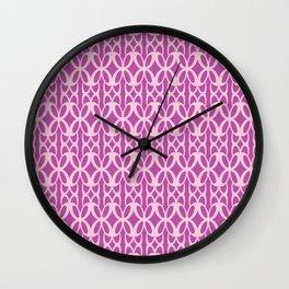 Mod Geometric Floral in Fuchsia Wall Clock