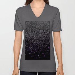 Dark Night Purple Black Silver Glitter #1 #shiny #decor #art #society6 Unisex V-Ausschnitt