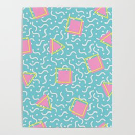 TOTALLY RAD 80s / 90S RETRO CALIFORNIA PATTERN Poster