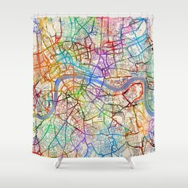 London England City Street Map Shower Curtain