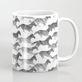 Running Watercolor Horses Ink Black Coffee Mug