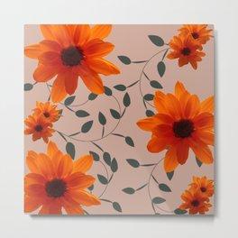 Orange Flowers and Vines Metal Print