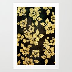 Gold Glitter Flowers - For Iphone Art Print