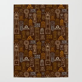 Brown Wall of Clocks Poster