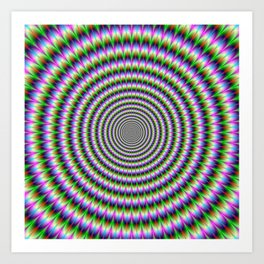 Brain-Buster in Blue Green Pink and Orange Art Print