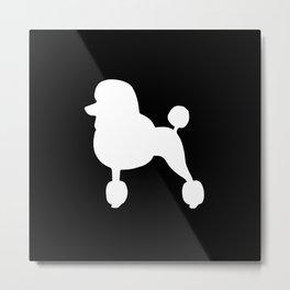 Poodle (Black/White) Metal Print