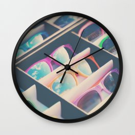 finding sunshine in a rainbow of sunglasses Wall Clock