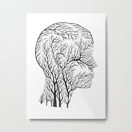 Head Profile Branches - Black Metal Print