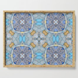 blue pattern Serving Tray