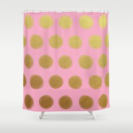 painted polka dots - pink and gold Shower Curtain