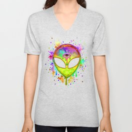 Alien Melt - yellow Unisex V-Neck