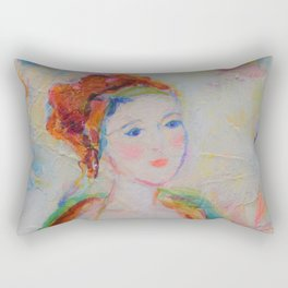 Portrait of a Beautiful Siren Daydreamer Acrylic Painting Rectangular Pillow