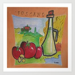 Hand Painted Toscane Italy  in Canvass Art Print
