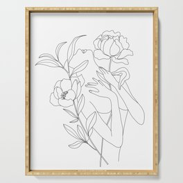 Minimal Line Art Woman with Peonies Serving Tray