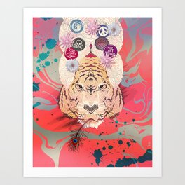 Peace Tiger Pepe Psyche Art Print