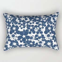 White blue floral pattern Rectangular Pillow