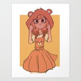 Kawaii Bear Outfit Art Print
