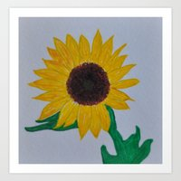 Sunflower, Ink and Watercolor Art Print