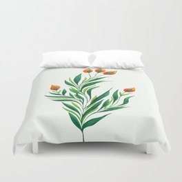 Abstract Green Plant With Orange Buds Duvet Cover