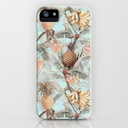 Vintage & Shabby Chic - Teal Pineapple Banana Tropical Summer Garden iPhone Case
