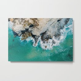 Ocean Waves Crushing, Drone Photography, Aerial Landscape Photo, Large Printable Photography, Ocean Metal Print