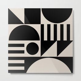 Mid Century Modern Geometric Abstract 936 Black and Linen White Metal Print