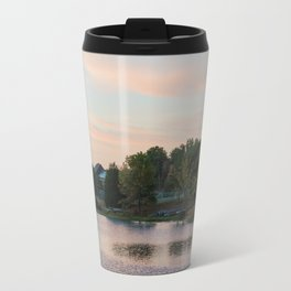 Peaceful Cabin on the Lake During Sunrise Travel Mug