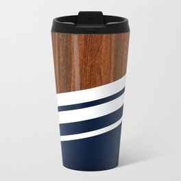 Wooden Navy Metal Travel Mug