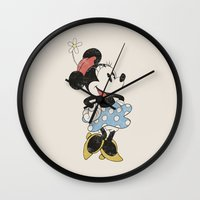 minnie mouse Wall Clocks featuring Minnie Mouse by Adel