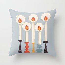 Festive Candles Throw Pillow