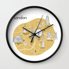 Mapping London - Yellow Wall Clock