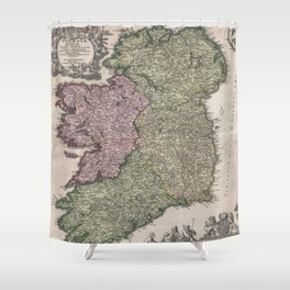 Vintage Map of Ireland (1716)  Shower Curtain