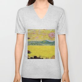 Pink Sunset at Saint-Tropez, French Riviera, France Beach landscape by Pierre Bonnard Unisex V-Neck