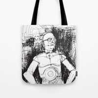 c3po Tote Bags featuring C3PO by Samantha Chiusolo
