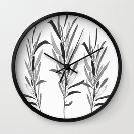 Eucalyptus Branches Black And White Wall Clock