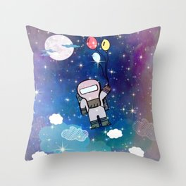 Cute Lil' Space Man - Illustration Throw Pillow