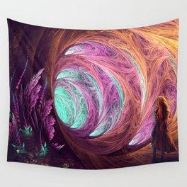 Towards The Light - Alice in Wonderland - White Rabbit - Fractal Wall Tapestry