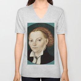 """Lucas Cranach the Elder """"Katharina von Bora"""" Unisex V-Neck"""