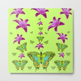 LIME COLOR PURPLE LILIES GREEN MOTHS Metal Print