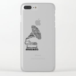 Typographic gramophone Clear iPhone Case