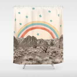 Canyon Desert Rainbow // Sierra Nevada Cactus Mountain Range Whimsical Painted Happy Stars Shower Curtain