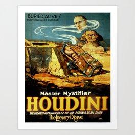 Otis Lith. - Poster, Houdini Master Mystifiers 1920s Art Print