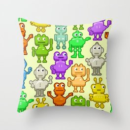 Background with funny robots Throw Pillow