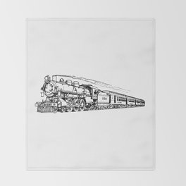 Old Steam Train Detailed Illustration Throw Blanket