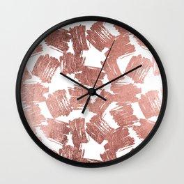 Modern faux rose gold artistic brushstrokes pattern Wall Clock